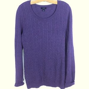 Plum cable knit long sleeve sweater L